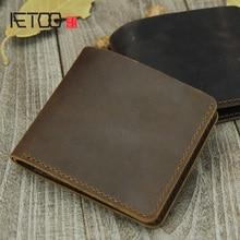 AETOO Handmade cowhide wallet, ultra-thin mad horse retro minimalist head-layer card bit wallet