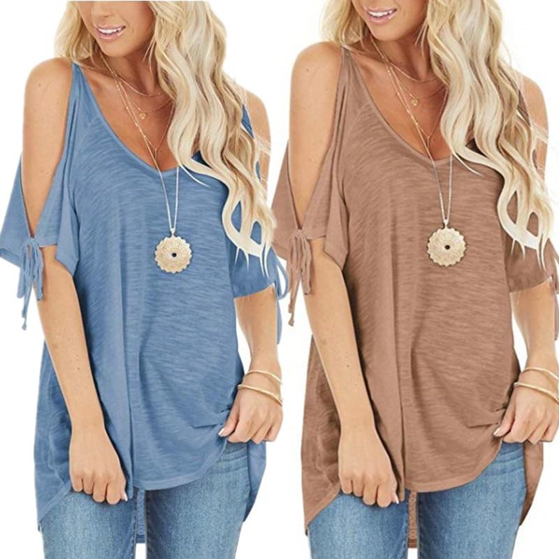 Camiseta feminina laço ombro fora, pulôver azul solto casual urbano praia camisetas pretas rosa