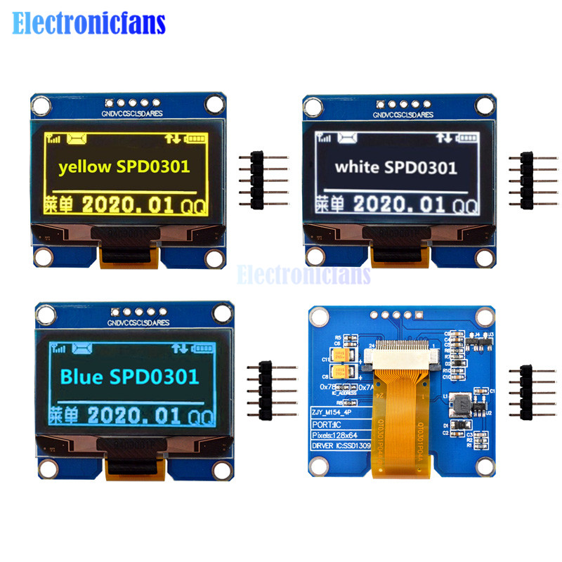 IPS 1.54 Inch 5Pin White Blue Yellow OLED Screen Display Module 128x64 SPI Interface SPD0301 Driver IC Adapter Board For Arduino