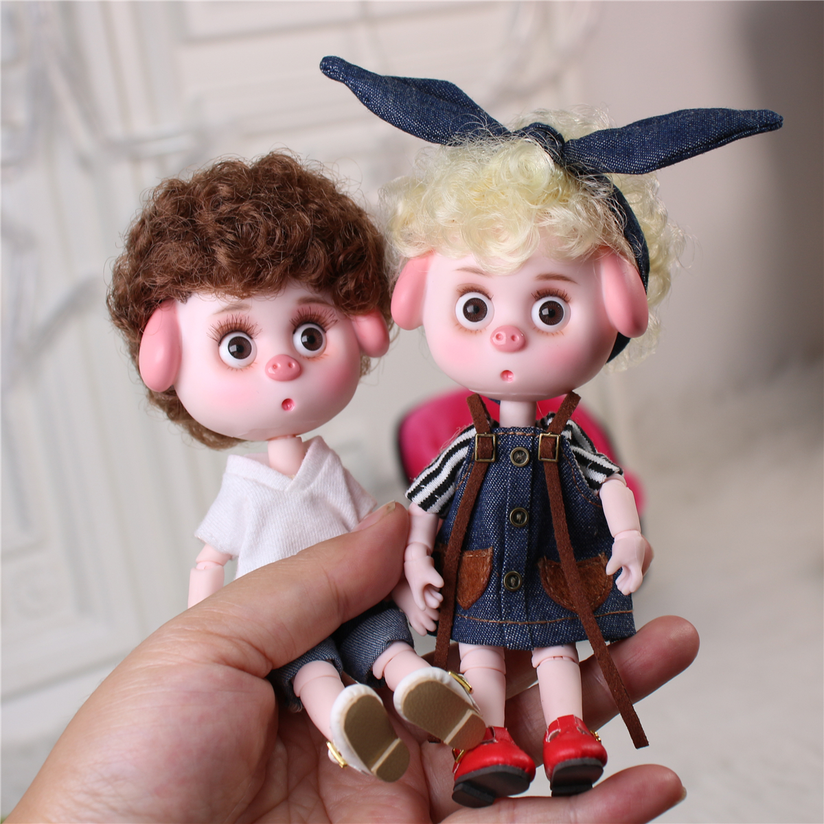 Sonho de fadas 1/12 bjd dodo boneca pigies brinquedo roupas sapatos 14cm mini boneca comum corpo ob11 bonito das crianças presente
