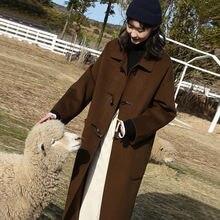 Длинное шерстяное пальто на пуговицах в стиле колледжа женское