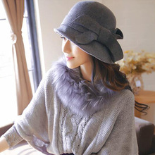 Church Hats Woolen Tie-Caps Fedora Magician Party British-Style Vintage Women Bow Cosplay