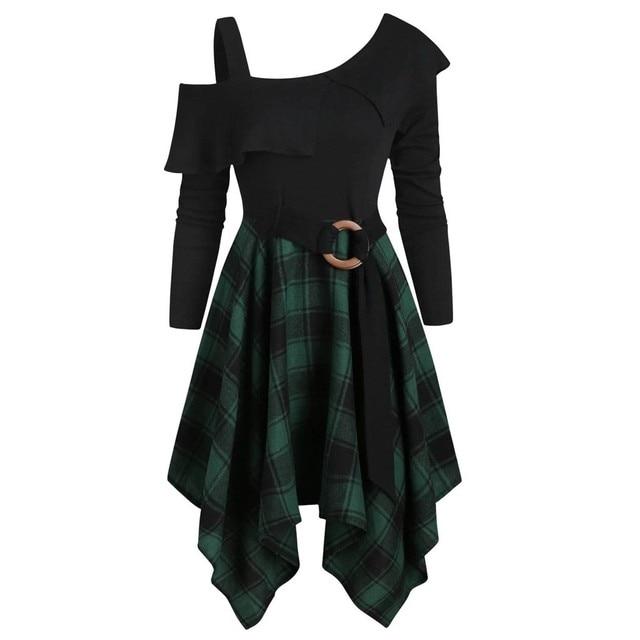 Women Sexy High Waist Asymmetric Gothic Plaid Mini Dress Preppy Casual Female Elegant Goth Punk Short Party Dresses Vestido #T2Q 2