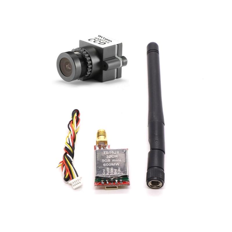 1000TVL 1/3 CCD 110 Degree 2.8mm Lens Mini FPV Camera NTSC PAL TS5828 Micro 5.8G 600mW 48CH Transmitter For RC FPV Racing Drone