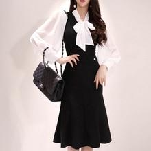 Moda mujer cómodo al aire libre elegante patchwork trompeta vestido nuevo llegada temperamento vintage trabajo estilo sirena vestido