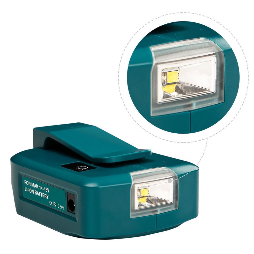 Adaptateur lampe de travail LED, chargeur USB de téléphone portable, sortie DC 12V, utilisation pour batterie Li-ion Makita 14.4V 18V BL1430 BL1830