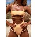 2021 однотонная одежда для плавания, Цельный купальник, Женский бразильский летний купальный костюм с открытой спиной, спортивный боди, пляжн...