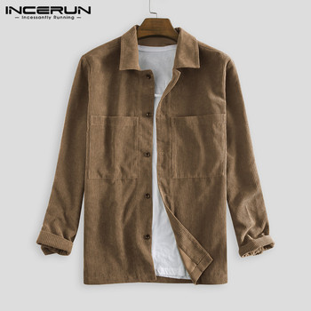 Vintage Men Corduroy Shirts Long Sleeve Solid Color Button Lapel Pockets Casual Streetwear Outerwear Autumn Shirts Men 2020 Tops button through solid outerwear