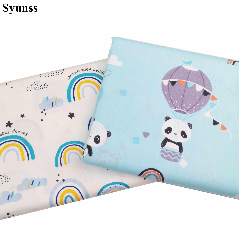 Syunss niebieski Panda balon nadruk tęcza tkanina bawełniana dla majsterkowiczów Patchwork pikowanie kołyski dla dzieci tkaniny poduszki koc szycia Tissus