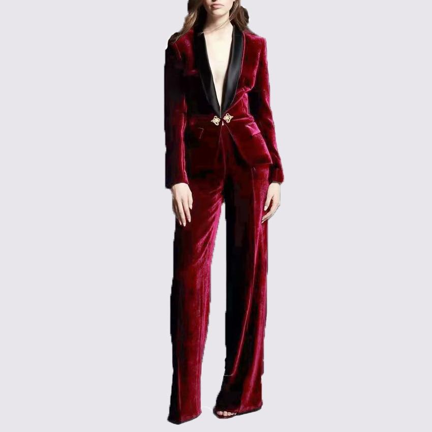 Haute qualité nouvelle mode 2019 Designer costume ensemble femmes élégant reine couronne boutons vin rouge velours veste et pantalons ensembles