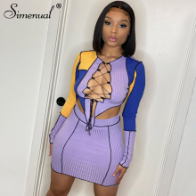 Simenual Knit Ribbed Patchwork Matching Sets Lace Up Long Sleeve Asymmetrical Top And Skirt Two Piece Outfits Skinny Partywear