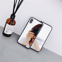 цена на Simple and creative mirror Apple phone case for iphone 6 6s 7 8 plus for iphoneX XR XS MAX  anti-fall luxury mobile phone holder