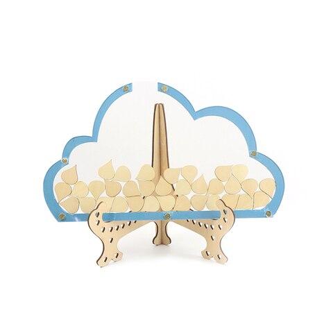 Livro de Visitas Caixa de Desejos de Casamento do Livro de Visitas Caixa de Madeira Casamento com 100 Nuvens Único Raindrop Rústico Doce Caixa de Desejos Casamento do 3d Pçs
