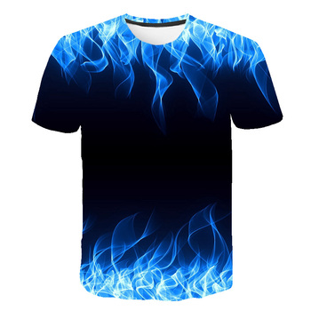 2020 hot sales kids New Summer T-shirt With Round Neck boys girls Short Sleeve Blue Flame 3D Printed Top high quality