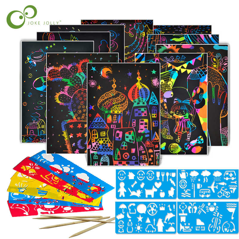 40/50 Sheets Magic Color Rainbow Scratch Art Paper Card Set with Graffiti Stencil for Drawing Stick DIY Painting Toy Kids ZXH