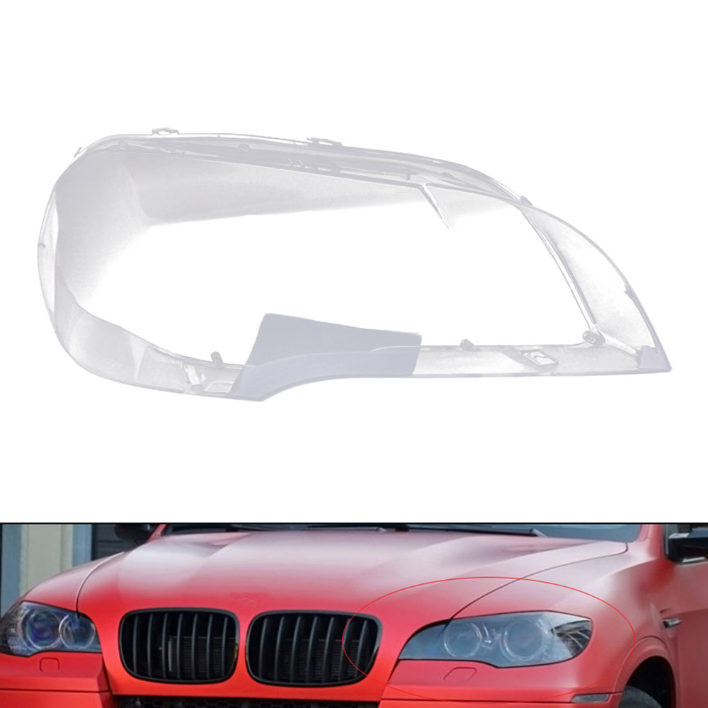 Car Clear Headlight Lens Cover Replacement For BMW X5 E70 2008-2013 Car Front Lamp Shell Cover PC Waterproof Headlight Cover S23