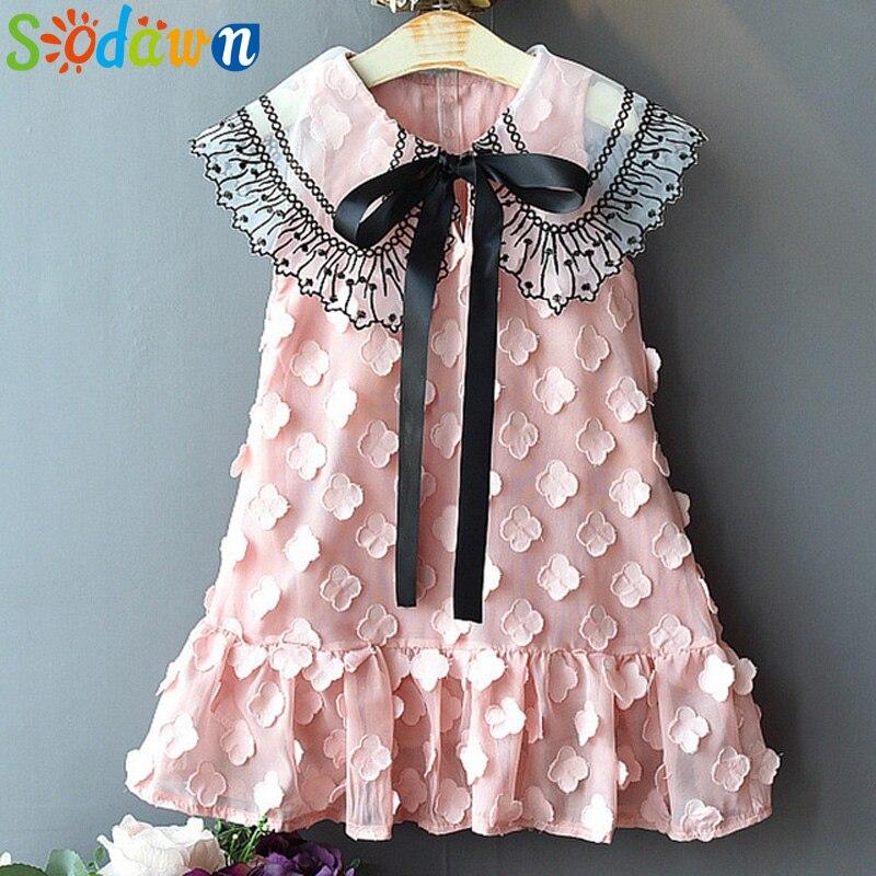 Sodawn 2020 Spring Summer Children's Clothing Baby   Girl   Princess   Dress   Lace Short Sleeve   Flower   Embroidery Design   Girls     Dress