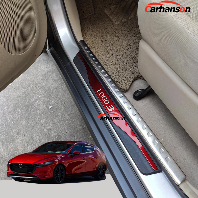 For Mazda 3 Car Accessories 2014 2015 2016 2017 2018 2019 Pedal Door Sill Trim Strip Auto Cover Protector Styling Sticker