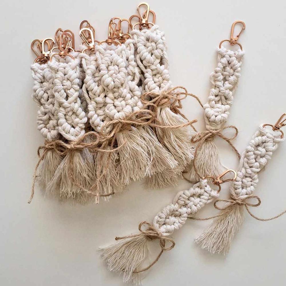 Girlgo Bohemian Hawaii Tassel White Macrame Key Chain For Women Luxury Handmade Key Holder Keyring Bag Accessories Jewelry Gifts