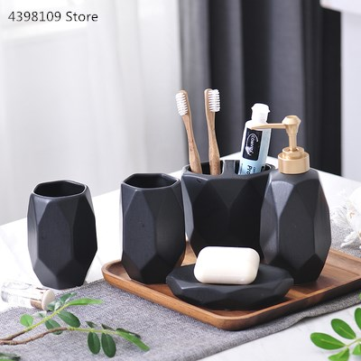 Nordic bathroom matte black simple ceramic bathroom five-piece toothbrush holder + lotion bottle + soap box bathroom wash set image