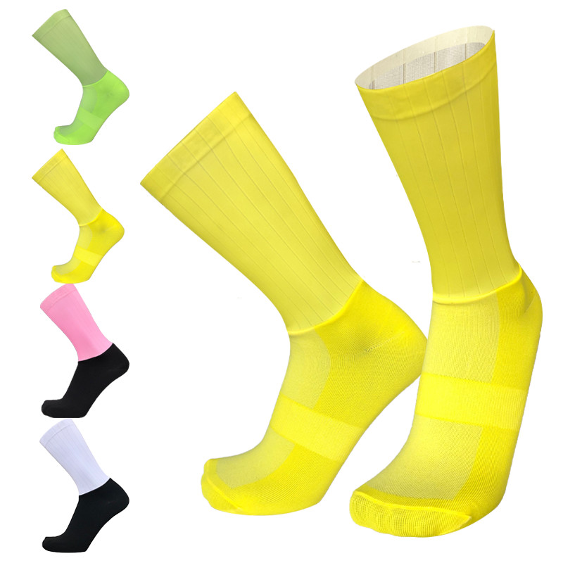 Yellow Stitching Functional Cloth Cycling Socks Men Women Outdoor Sports Road Bike Socks Comfortable Foot Clinging Socks