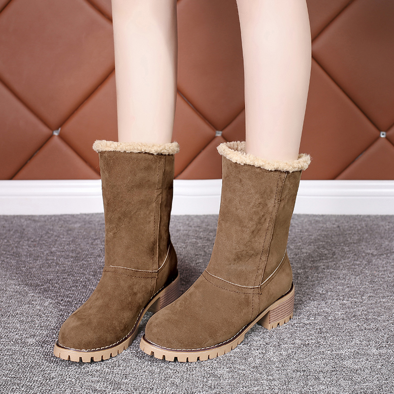 Image 4 - Cheap Sale 2019 Winter Women Fashion Ankle Boots Flock High Heel Short Booties For Ladies Big Size 43 Woman Botas Fur Warm Shoes-in Ankle Boots from Shoes