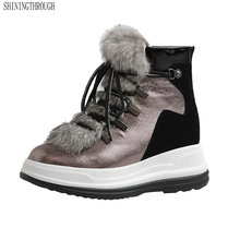 Winter Warm Boots Platform Casual-Shoes Large-Size Genuine-Leather Women Flat Lace-Up