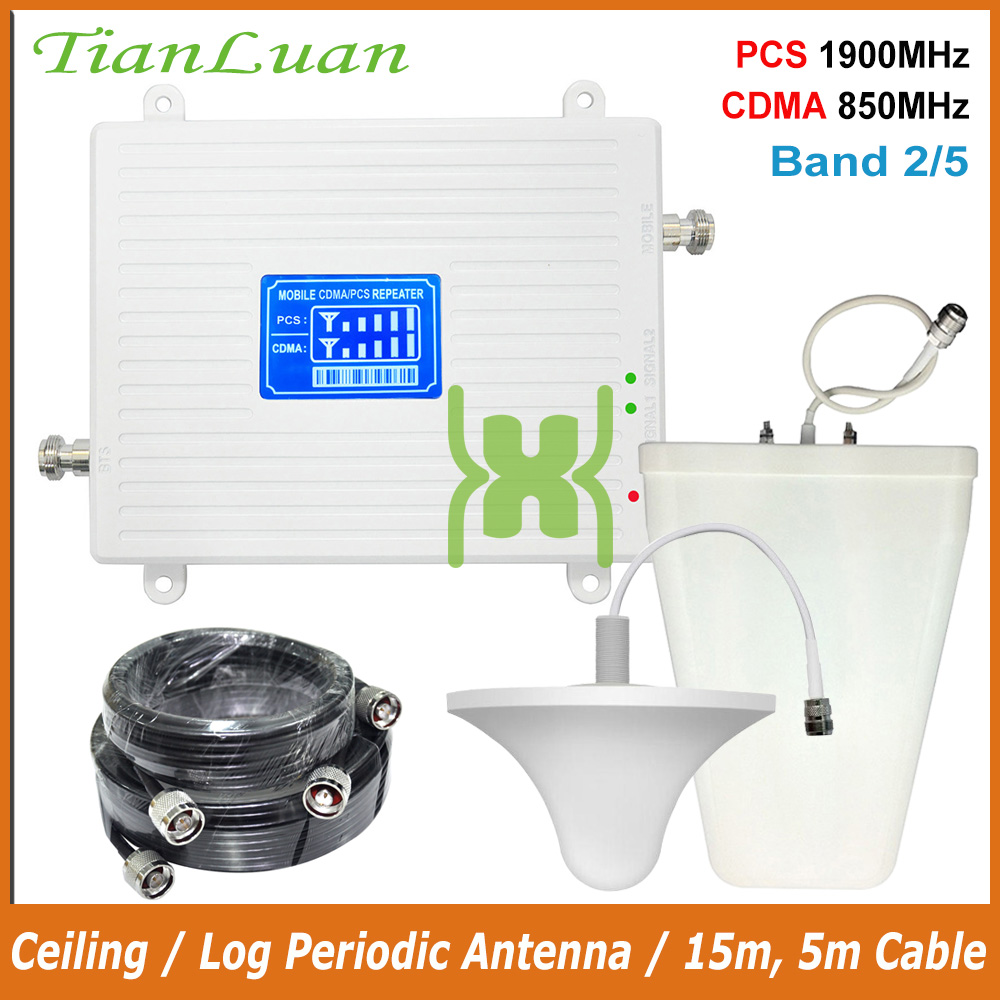 TianLuan Dual Band 5 Band 2 Speed 2G 3G 850/1900MHz Mobile Signal Booster CDMA PCS Cell Phone Signal Repeater Amplifier