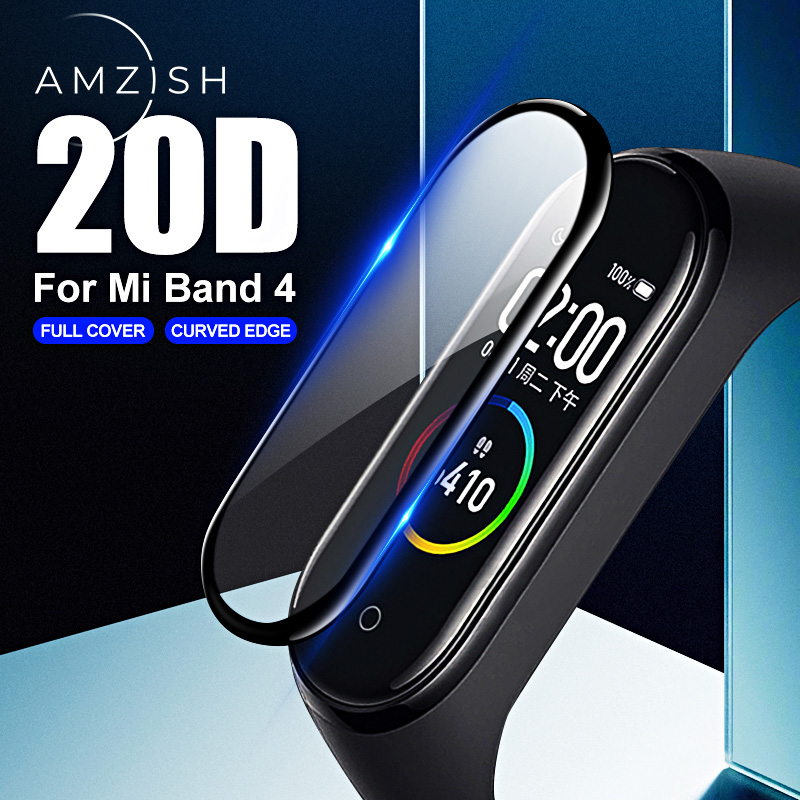 Amzish 20D Curved Edge Protective Glass For Xiaomi Mi Band 4 HD Full Scratch-resistant Cover For MiBand 4 Screen Protector Glass