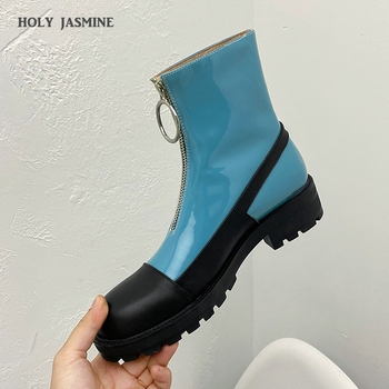 2020 New Brand Design Women Genuine Leather Ankle Boots Autumn Winter Party Basic Shoes Woman Front Zipper Round Toe Short Boots new hot high quality brand women lace up martin ankle boots genuine leather round toe motorcycle boots for winter shoes woman