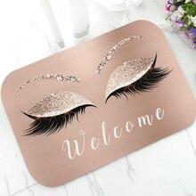 Модный розовый Золотой Блеск ресницы Добро пожаловать дверной коврик сверкающий макияж резиновый коврик ковер шикарный дом красота студия Декор