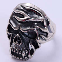 925 Sterling Silver Jewelry Retro Thai Silver Domineering Personality Skull Male Ring 925 sterling silver retro thai silver bulldog fierce dog ring fashion hip hop personality ring