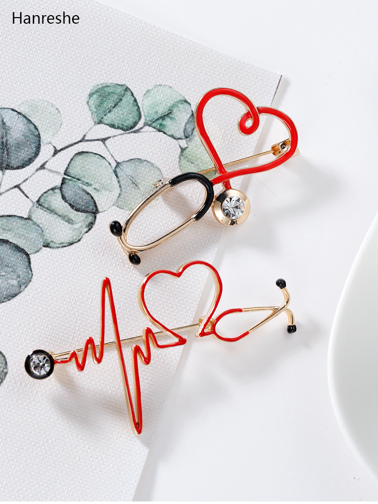 Backpack Jewelry Pin Stethoscope Medical-Medicine-Brooch Lapel Heart-Shaped Nurse-Doctor