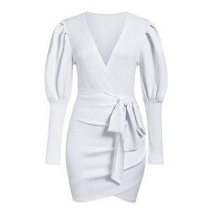 Image 5 - Aartiee Sexy V ausschnitt Puff sleeve frauen kleid 2019 Herbst winter Kurze weibliche kleid mini Schärpe gürtel partei vestidos verband kleid