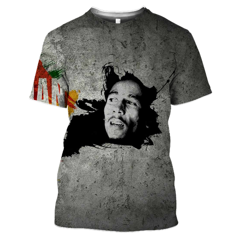 Bob Marley Rock Hip Hop T Shirt Men Male Summer Plus Size Streetwear Casual Short Sleeve Round Neck Weeds Reggae Star T-Shirt (36)