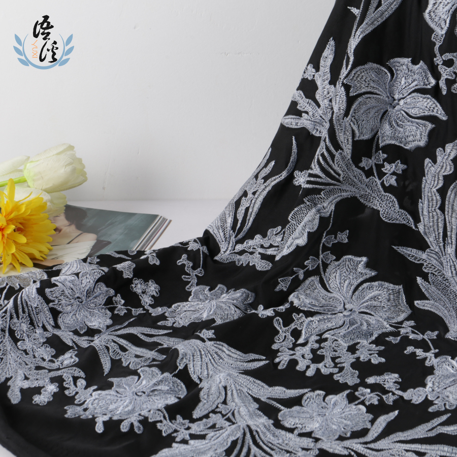 5 Yards New Autumn And Winter Fireworks Ash Flower Embroidery Fabric Black Fine Knit Undercloth Ladies Positioning Embroidery