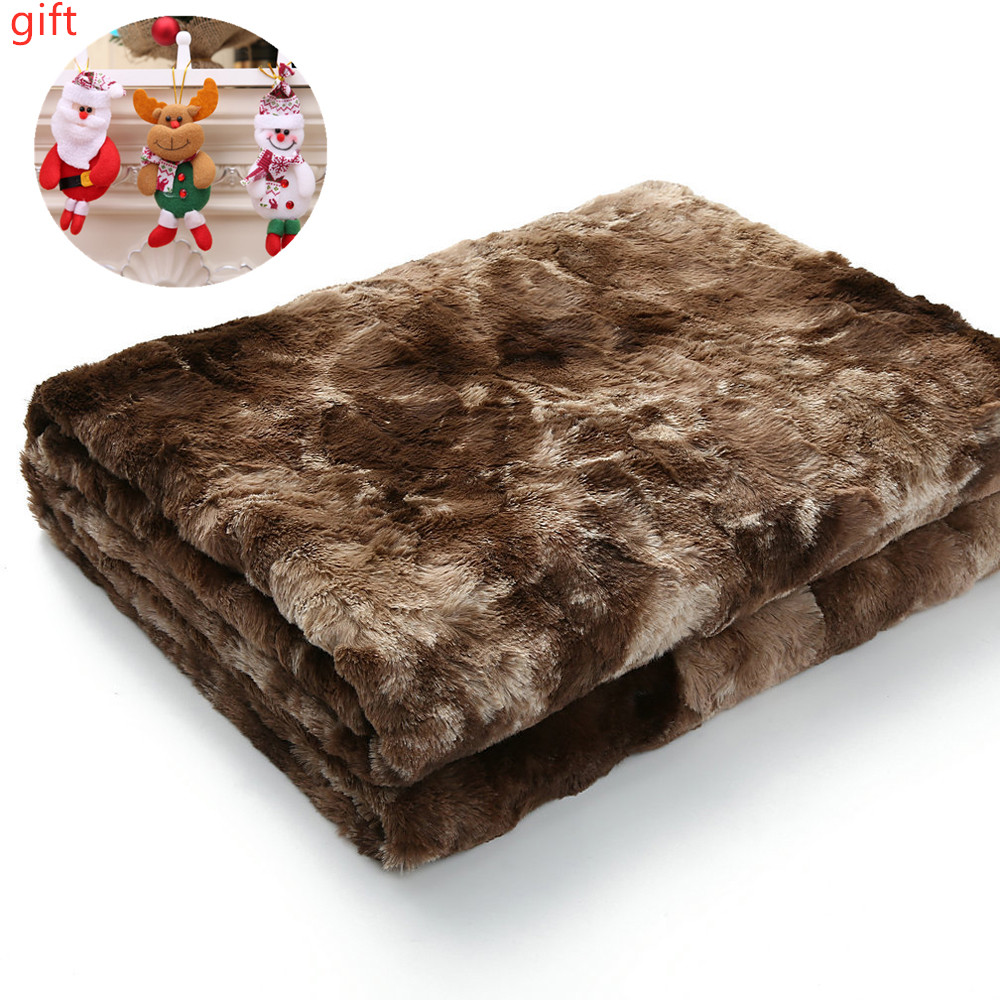 3 Sizes Throw Blanket For Sofa Soft Fur Blanket In Faux Fur Sofa Warm Comfortable Blankets With Hairy Sherpa 160x200cm Blanket