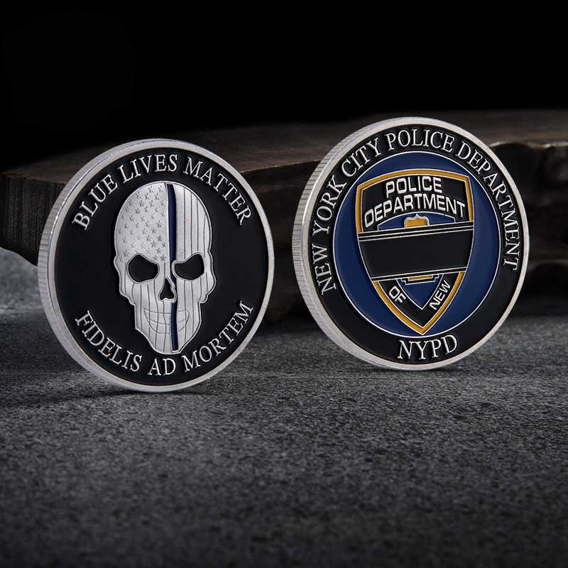 New York City Police Department NYPD Blue lives Matter Skull Challenge Coin