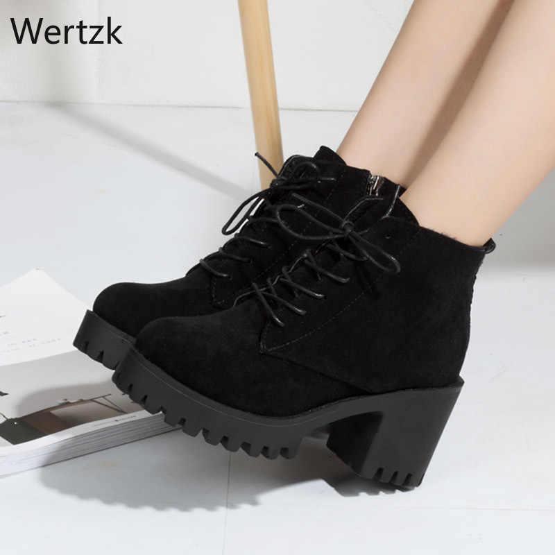 Matte Martin boots รองเท้าส้นสูง Lace Up ข้อเท้ารองเท้าสำหรับรองเท้าผู้หญิงแพลตฟอร์มสีดำ Boot botines mujer 2019 ฤดูหนาว botines a348