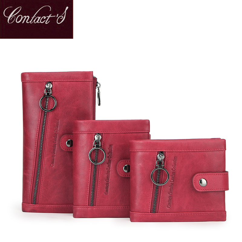 Contact's Women Genuine Leather Wallet Red Ladies Clutch Wallets Luxury Femal Coin Purse Rfid ID Card Holder Carteira Feminina
