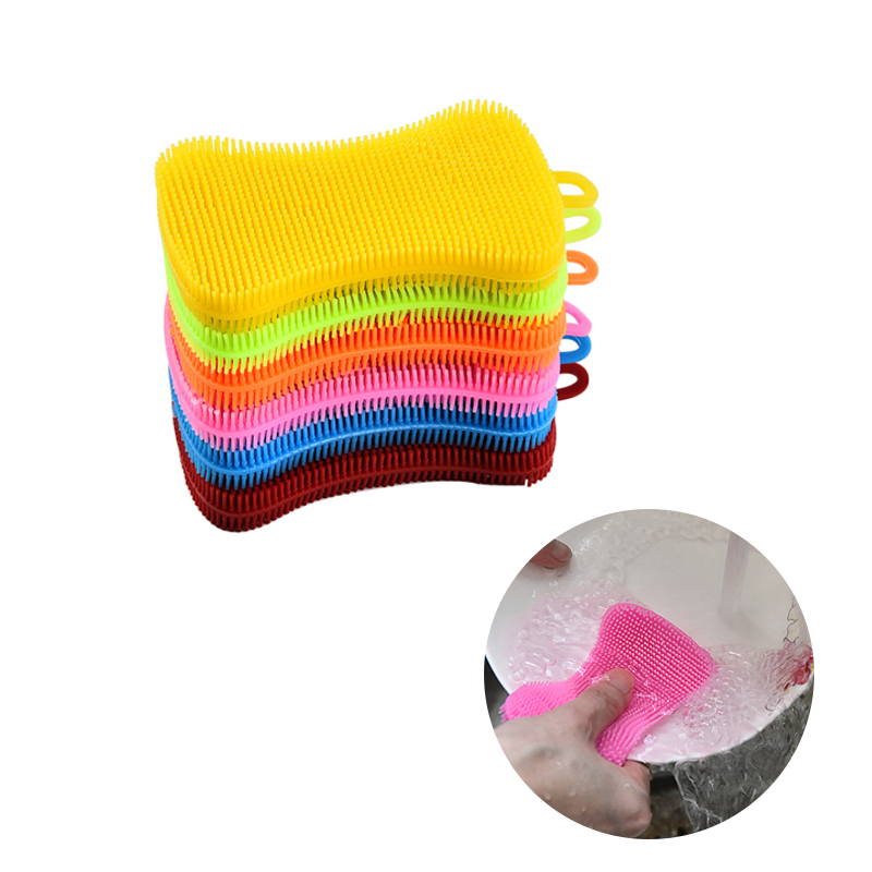 1Pcs Kitchen Cleaning Brush Silicone Dishwashing Brush Fruit Vegetable Cleaning Brushes Pot Pan Sponge Scouring Pads Tool