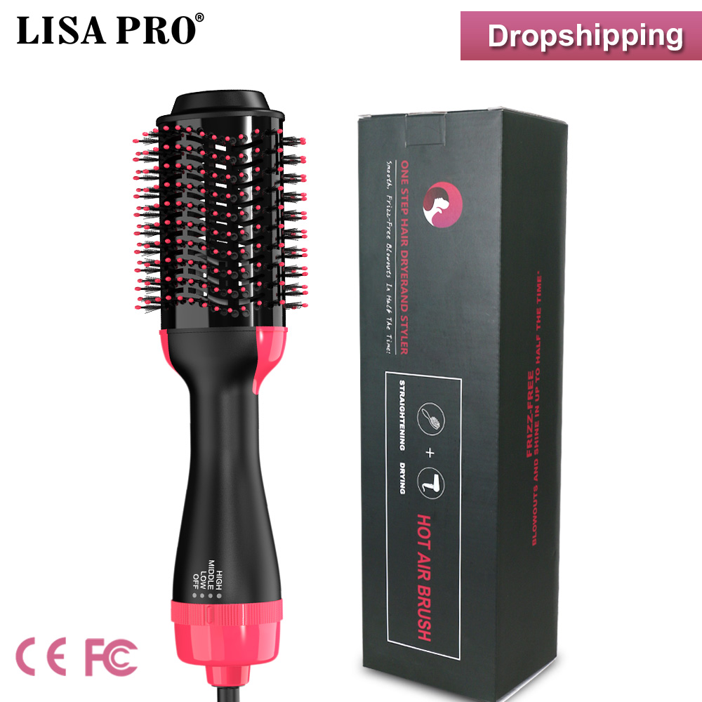 Lisapro Hot Air  Brush 2 In 1 Hair Dryer Hair Straightener Curler Comb Electric Blow Dryer With Comb Hair Brush Roller Styler
