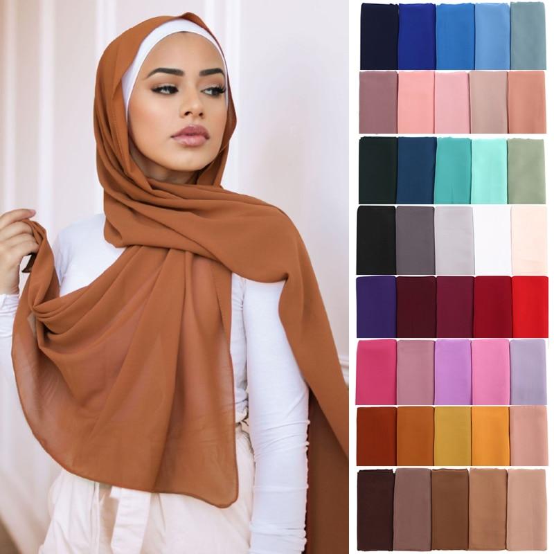 Women Solid Color Chiffon Hijab Scarf Wrap Islamic Shawls Headband Muslim Hijabs Wrap Headscarf Scarves 60 Colors