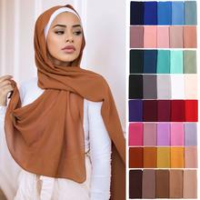 Kobiety szyfon jednolity kolor hidżab szalik Wrap islamskie szale pałąk muzułmańskie hidżaby Wrap chusty chusty 60 kolorów tanie tanio NONE CN (pochodzenie) Szalik hijabs Chiffon moda Adult Z szyfonu A7389M189219 72x175cm Headscarf Muslim woman scarf Muslim women hijab