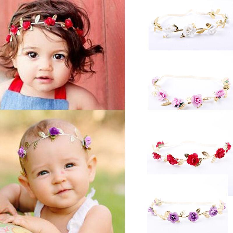 Toddler Newborn Kids Crown Headband Baby Girl Kids Garlands Gold Leaves Hair Band Rose Flower Wreath Red Blue White Beige