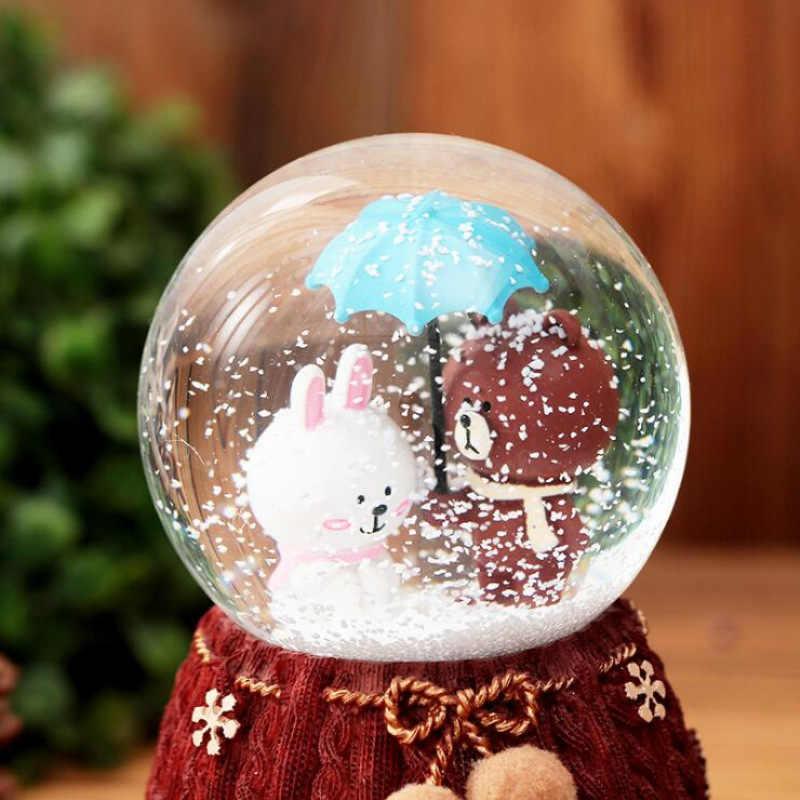 ファッション 3D ビッグサイズエレガントなクリスタルボールオルゴール家の装飾かわいい漫画のクマのカップルギフトアートクラフトスノーフレークウール