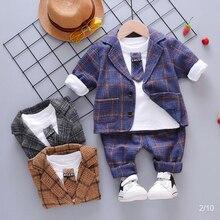 Весенне-осенние комплекты детской одежды новое хлопковое пальто для мальчиков+ футболка+ штаны, костюм из 3 предметов для детей, модная праздничная одежда для мальчиков