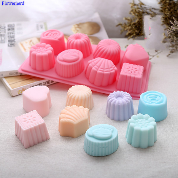 Food Grade Soft Silicone Eight-flower Patterns Handmade Soap Mold Chocolate Cake Mold Soap Making Set Silicone Liquid Crafts