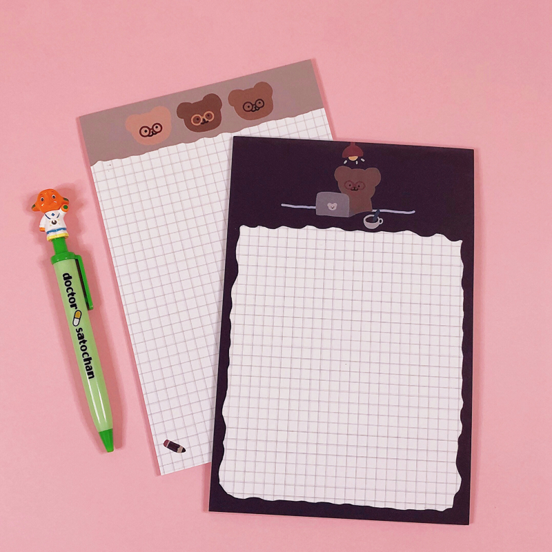 30Sheets/Lot Kawaii Korean INS Cute A5 Glasses Bear Memo Pad N Times Sticky Notes Portable Notepad School Office Supply