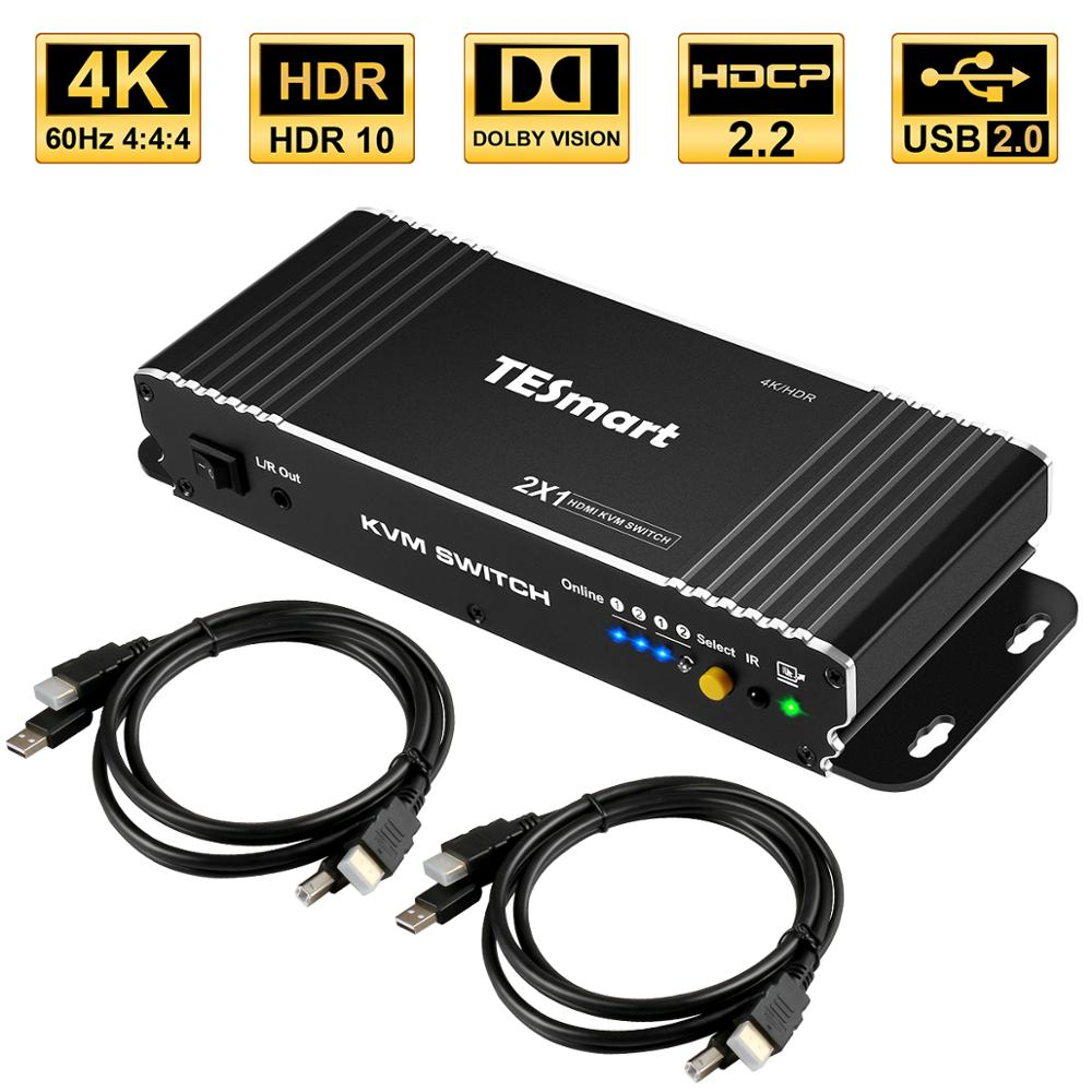 HDMI Switch 4K, TESmart New HDMI 4K@60Hz Ultra HD 2x1 HDMI KVM Switch Supports USB 2.0 Devices Control Up To 2 Computers/Servers